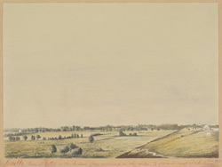 View of the town of Tatta (Sind) seen from the camp west of the town.  December 1851